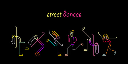 Neon colors on a black background Street Dances vector illustration. Silhouettes of dancing people.
