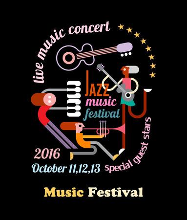 Composizione astratta arte con il musicista, l'architettura del testo e strumenti musicali isolati su uno sfondo nero. Jazz Musica Poster Festival.