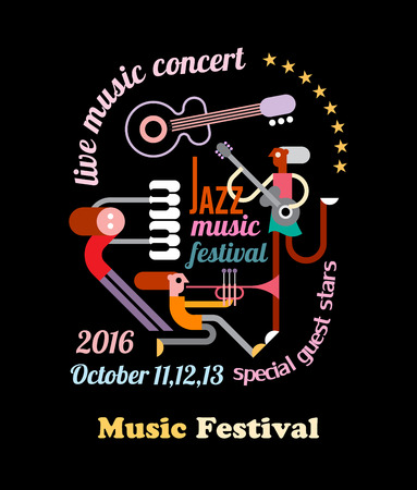 Abstract art composition with musician, text architecture and musical instruments isolated on a black background. Jazz music festival poster.