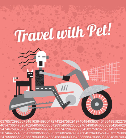 pet cat: Biker traveling with his cat by motorcycle and Travel with Pet! text. Vector illustration with grunge background. Illustration