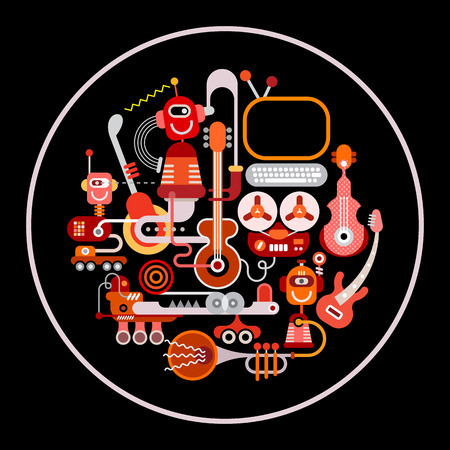 recording: Modern Recording Studio vector illustration. Round shape art collage of a musical instruments and electronic equipment isolated on a black background.