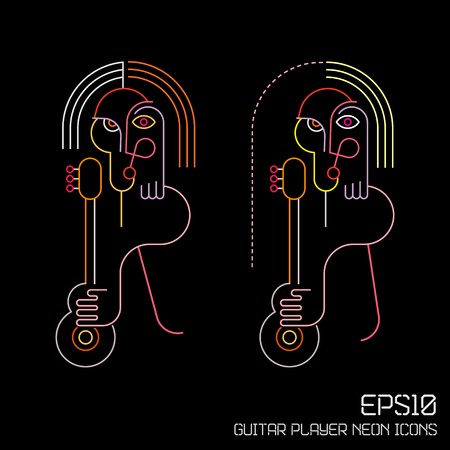 guitar player: Neon colors on a black background Guitar Player vector illustration. Two variants of abstract portrait.