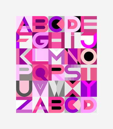 architecture alphabet: Vector geometric font design. Abstract art vector illustration featuring the letters of the alphabet.