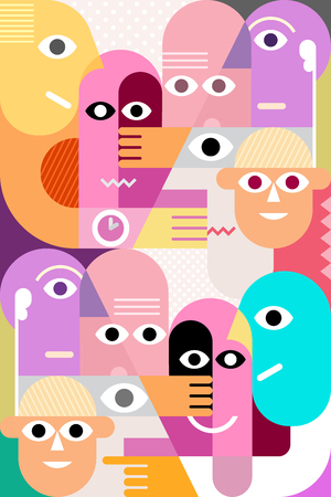 funny face: Large group of funny people vector illustration.