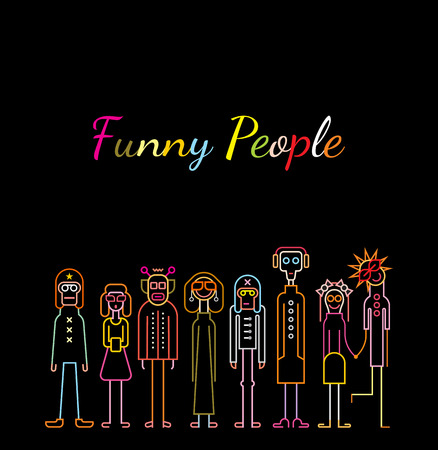 black people: Neon colors on a black background Funny People vector illustration.