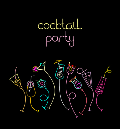 Neon colors on a black background Cocktail Party vector illustration. Nine various cocktail glasses and Cocktail Party text. Invitation vector poster.