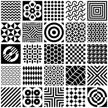 Black and white abstract geometric pattern set. Vector decorative seamless background.