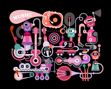 Modern music concert vector illustration isolated on a black background. Funny robots playing musical instruments. Illustration