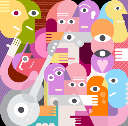 A large company of people who have something to discuss. Modern abstract fine art vector illustration. Vettoriali
