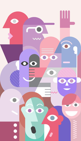 plural: Large group of various people vector illustration.