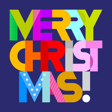 vibrant colors: Merry Christmas! - vibrant colors decorative text architecture. Lettering design isolated on a dark blue background.