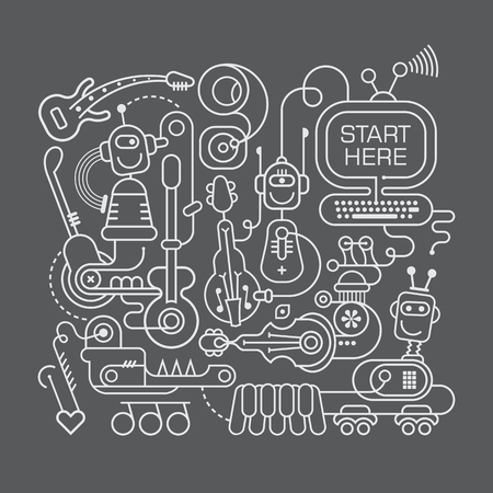 bot: Funny robots playing musical instruments isolated illustration on a dark grey background. Line art graphic design. Illustration