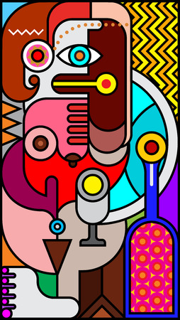 fine art: Stained glass with abstract portrait of a woman fine art illustration.