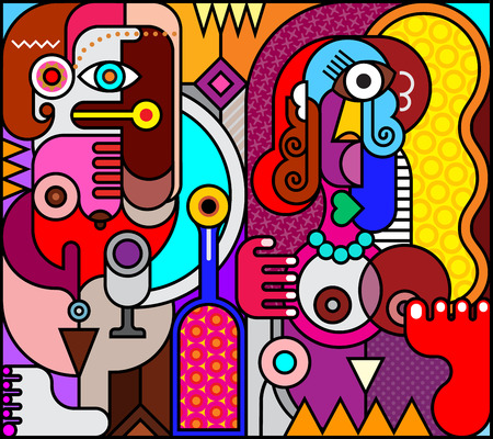Two women with bottle of wine. Abstract fine art stained glass style illustration.