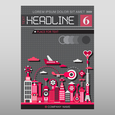 front page: Cityscape with modern buildings vector illustration. Multipurpose brochure flyer design, layout template with place for text. Mock-up size A4, front page.