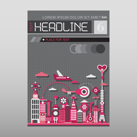 proportional: Cityscape with modern buildings vector illustration. Multipurpose brochure flyer design, layout template with place for text. Mock-up proportional size A4, front page.