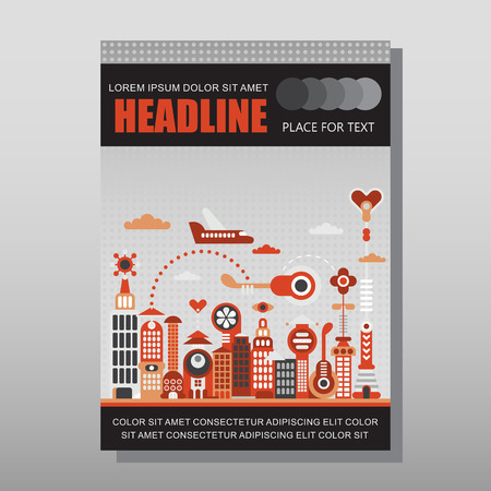 front page: Modern cityscape illustration isolated on a light grey background. Multipurpose brochure design, layout template with place for text. Mock-up proportional size A4, front page.