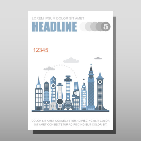 proportional: Modern cityscape illustration isolated on a light grey background. Multipurpose brochure design, layout template with place for text. Mock-up proportional size A4, front page.