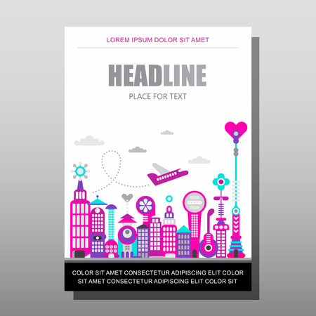 proportional: Modern cityscape vector illustration isolated on a white background. Multipurpose brochure flyer design, layout template with place for text. Mock-up proportional size A4, front page. Illustration