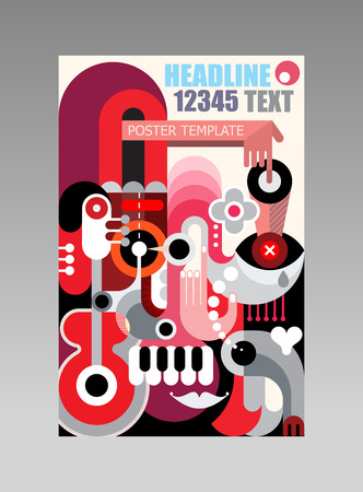 template: Abstract art composition poster template. Multipurpose design.