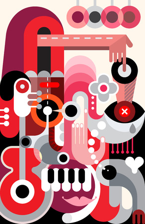 decorative objects: Abstract art  design. Decorative composition of various objects and shapes.