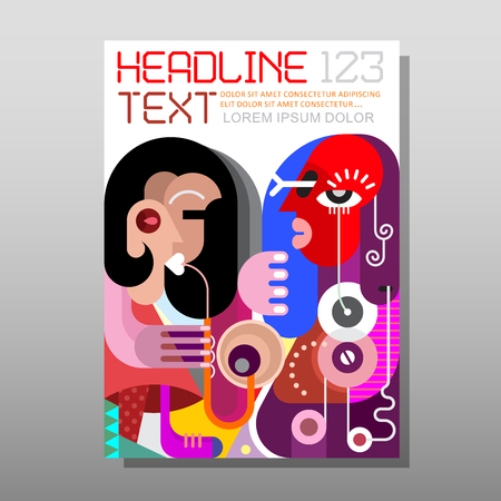 woman playing saxophone for her boyfriend. Modern fine art picture, template of magazine cover, size A4. Abstract background front page design.