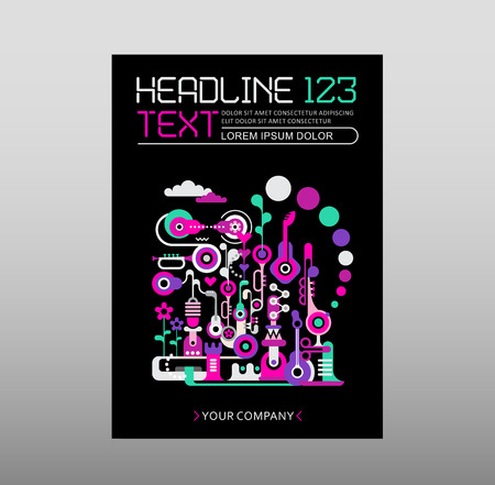 cover art: Fantastic city, Abstract art design, magazine cover template, size A4. Composition with abstract shapes and musical instruments isolated on a black background.