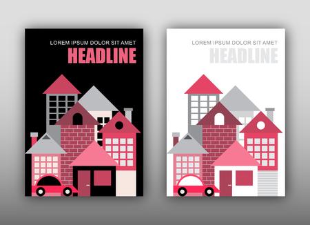 2 つの現代住宅テンプレート オプション - 黒と白の背景。雑誌の表紙デザイン、サイズ A4。