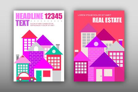 現代の住宅の 2 つのポスターのオプション。雑誌の表紙デザイン、サイズ A4。