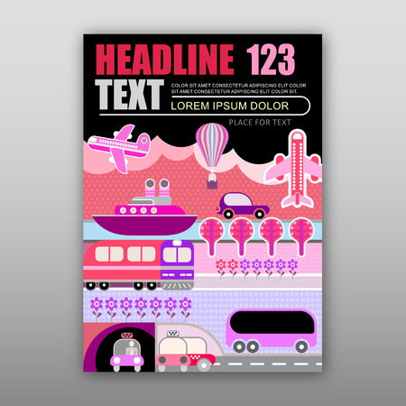 front page: Various kind of transport for travel and journey. template of magazine front page, size A4.