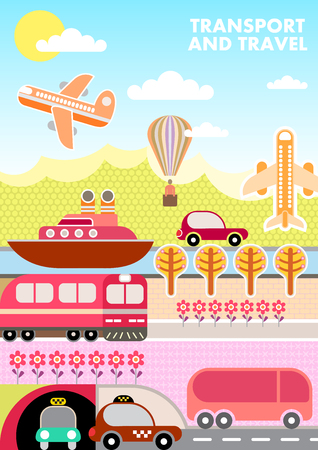 Landscape with various kinds of transport for travel. Vector template of magazine cover, size A4.
