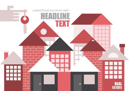 不動産、モダンなタウンハウス。ベクトル テンプレート, 雑誌の表紙デザイン, サイズ A4。手の人差し指のキー。