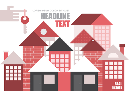 townhouses: Real estate, modern townhouses. Vector template, magazine cover design, size A4. Hand with key on forefinger.