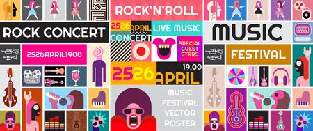 록 콘서트 포스터 템플릿입니다. 음악 축제 벡터 콜라주.