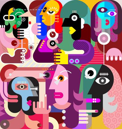 Een groot gezelschap van mensen die iets te bespreken hebben. Moderne abstracte fijne kunstillustratie.