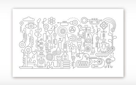 Musikinstrumente Workshop Vektor lineart Illustration auf einem weißen Hintergrund. Technische Zeichnung Stil.
