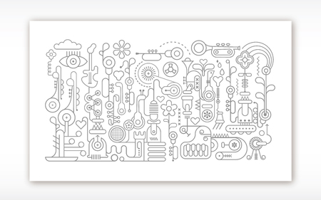 Muziekinstrumenten workshop vector lineart illustratie geïsoleerd op een witte achtergrond. Technische tekenstijl.