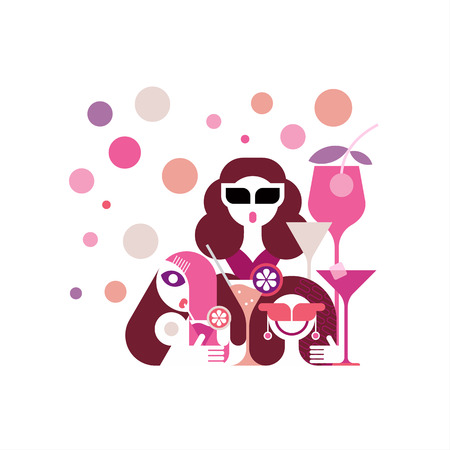 cocktail drink: Cocktail Party vector illustration. Three young beautiful women enjoying drink in cocktail bar. Illustration