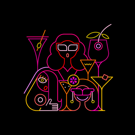 cocktail drink: Three young beautiful women having a drink in a cocktail bar. Neon colors on a black background Cocktail Party vector illustration. Illustration