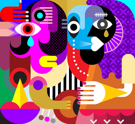 Abstract portrait of two crying women. Vector illustration. Modern fine art. Stock Photo