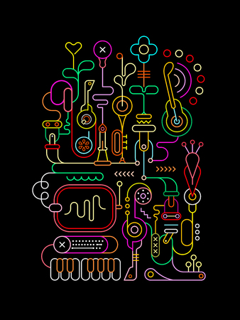Neon colors on a black background Abstract Art vector illustration.