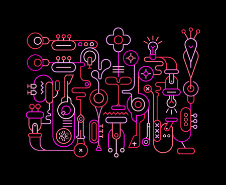 Neon colors on a black background Abstract Art vector illustration. Line art composition with musical instruments and electrical equipment.