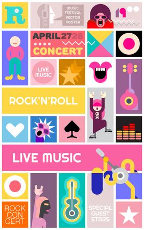 Concerto rock poster modello. Festival musicale vettore collage.