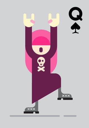 grey hair: Playing card with rocker girl. Dancing teenage girl with long pink hair and raised hands isolated on a grey background. Vector illustration.