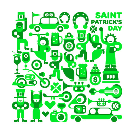 feast of saint patrick: Saint Patricks Day vector illustration isolated on a white background. Various cheerful people in green celebrate and dance. Feast of St. Patrick.