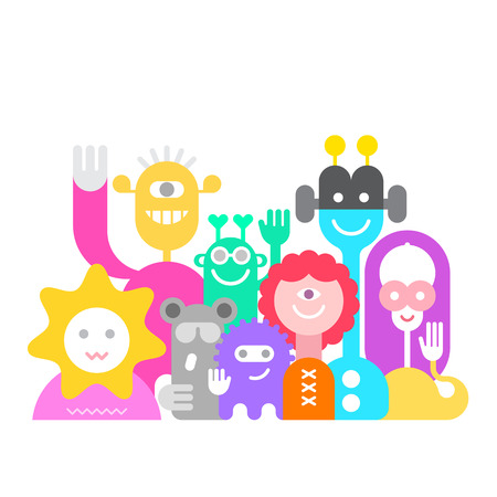 Large group of friendly cheerful aliens isolated on a white background. They are smiling and waving their hands. Colorful vector illustration.