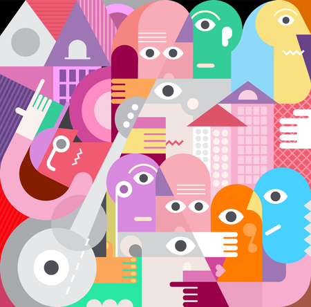 A large group of people geometric style vector illustration. Graphic design  artwork.