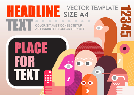 Large group of people watching TV vector template design, size A4. Flyer mock up with place for text.