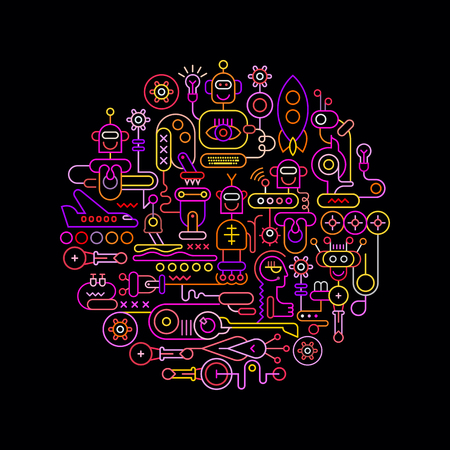 Neon colors on a black background Robotics Network round shape vector illustration.