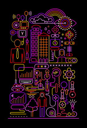 Neon colors Online Banking vector illustration isolated on a black background.
